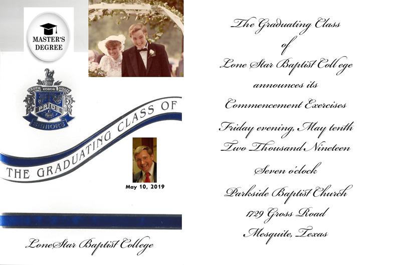 Master's Degree Invitation fro Donald Frazier