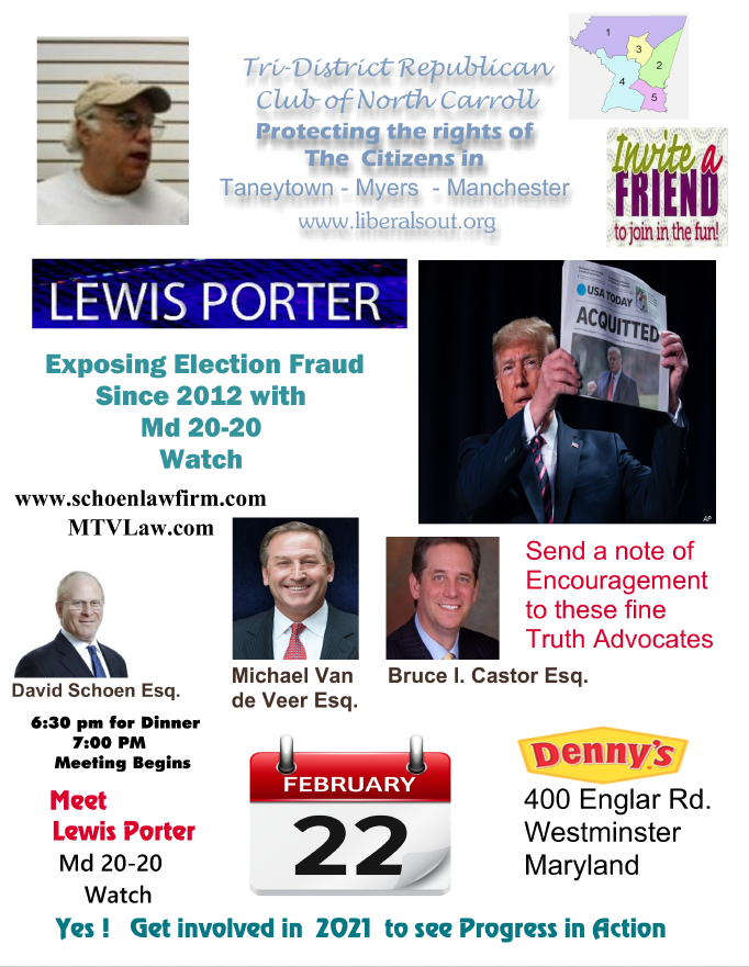 Tri-District Republican Club Meeting for February 22, 2021