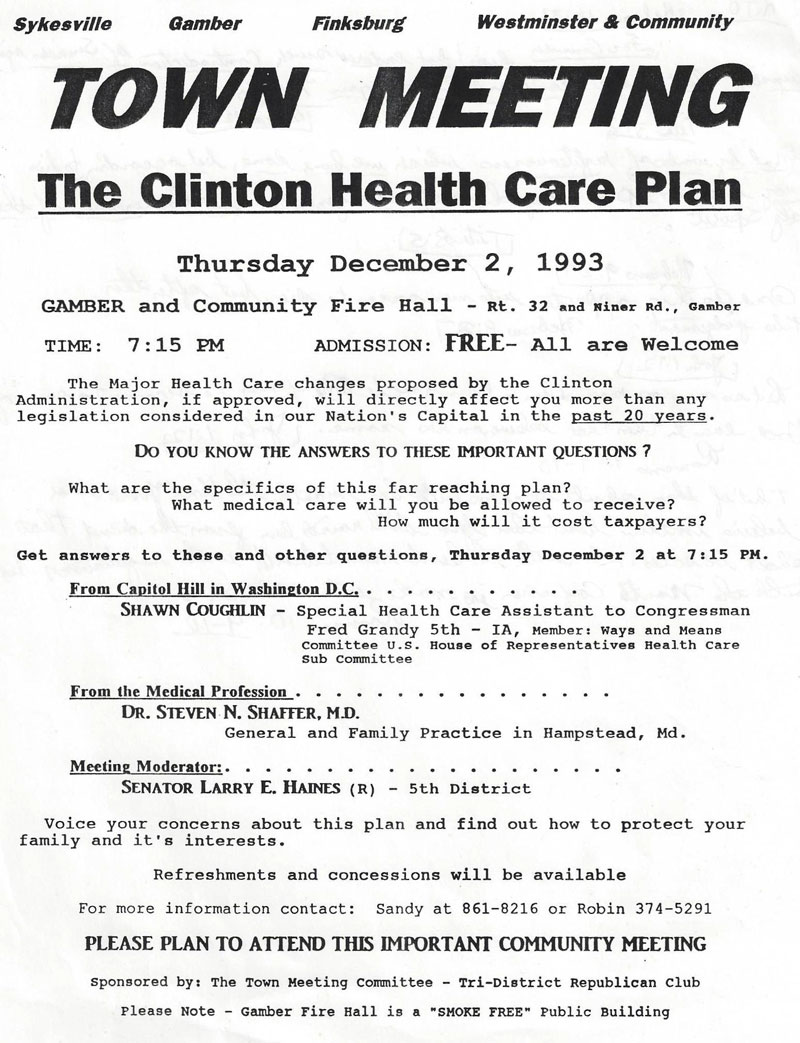 Tri-District Club opposes the Clinton National-Health Plan No Hillary Plan